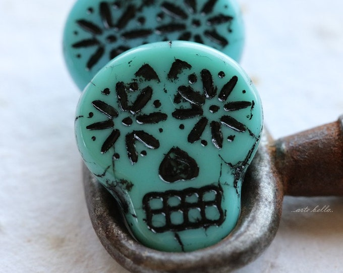 TURQUOISE BLACK SKULLS .. 2 Picasso Czech Sugar Skull Beads 20x17mm (5267-2)