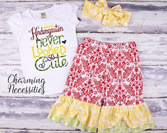 Back To School Outfit, Toddler Girl Clothes, Glitter Top and Ruffle Pants in Kindergarten Never Looked So Cute PRIMARY Charming Necessities