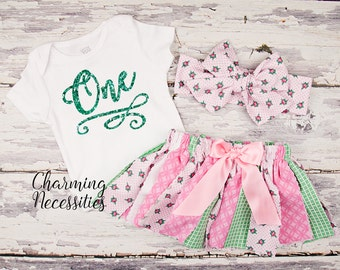 Baby Girl Outift, First Birthday, Cake Smash, Toddler Girl Clothes, Sparkle Glitter Top and Shabby Tutu Skirt One Two Three Pink Mint Roses