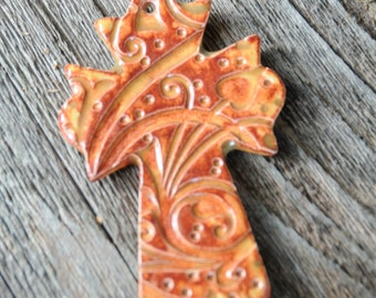 Pottery Cross PENDANT Bead in Autumn in the whimsy pattern