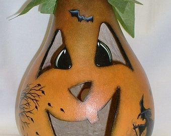 Light Up Gourd Jack-O-Lantern - Hand Painted