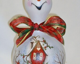 Snowman Gourd with Birdhouse and Cardinal - Hand Painted Gourd