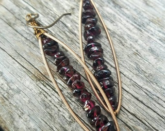 Guitar String Earrings Recycled Earrings Garnet Earrings Bronze Brass Earrings Boho Earrings Burgundy Earrings Bohemian -  MADE TO ORDER