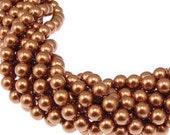 8mm Copper Pearl, Swarovski® crystals, Copper, 8mm round (5810). Sold per pkg of 24