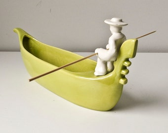 Mid Century Modern Planter, Lime Green Gondola Boat