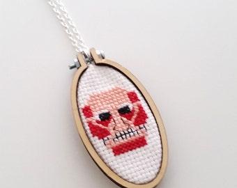 Colossal Titan Cross stitch Necklace - xstitch fiber art wearable art Anime Fan art