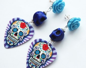 Sugar Skull Guitar Pick Studs-Silver Filled-Calavera Jewelry-Gifts for Musicians-Tattoo Inspired-Skull Trend-Fashion Earrings-Purple Skulls