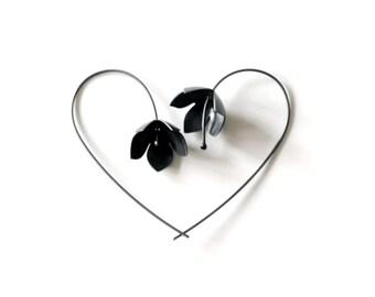 Bellflower Earrings, Flower Dangles, Flower Earrings, Black Flower Earrings, Sterling Silver, Woodland, Nature Jewelry, Wedding Jewelry