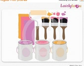 SALE Paint can and brush set, home decor digital clip art set PNG (062)