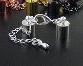 Cord Terminator Tips with Chain and Lobster Clasp 2 End Jewelry Connector Silver Black Gunmetal Copper Gold CHOICE (1044con36m1)