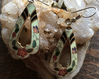Vintage white cloisonne earrings withflowers and butterflys.  Boho 70s