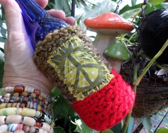 Hippie Gift, Hippie Festival, Peace Sign, Beer cozy, beer cooler, hippie crochet, beer gift, beer accessory, can cooler, bottle cooler, D55