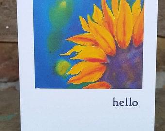 Sunflower Blaze, hello, Notecard, blank inside