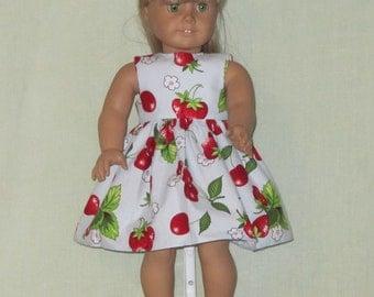 American Girl 18 inch Doll Dress Cherries and Strawberries