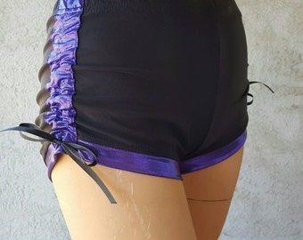 Black and Purple Lift and Separate Spandex Booty Scrunch Butt Shorts Roller Derby Yoga Dance Cracker Wear Small
