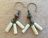 E477 Wood and Riverstone Earrings