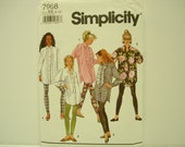 Vintage Simplicity Pattern #7968 Circa 1992 Shirt Pattern Leggings Pattern Sewing Pattern Clothing Pattern Womans Pattern Ladies Pattern
