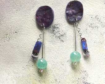 Fresh plum dangles upcycled artist palette in summer colors