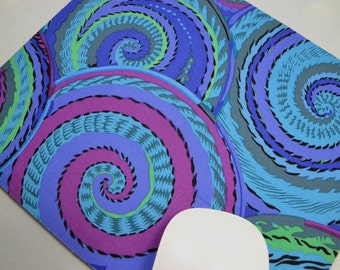 Buy 2 FREE SHIPPING Special!!   Mouse Pad, Fabric Mousepad   Curly Baskets Cobalt