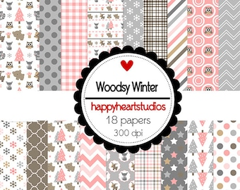Digital Scrapbook  WoodsyWinter-INSTANT DOWNLOAD