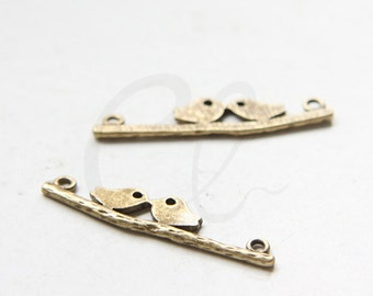One Piece Antique Brass Links-Bird on Branch 36x8.3mm (452C-M-423)