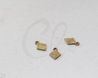 6pcs Antique Brass Diamond Shape Charm - 8.5x5.5mm (1855C-N-89)