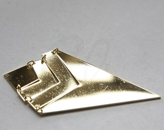 One Set Premium Gold Plated Triangle Pendant - Geometry - 73x40mm (3118C-N-243)