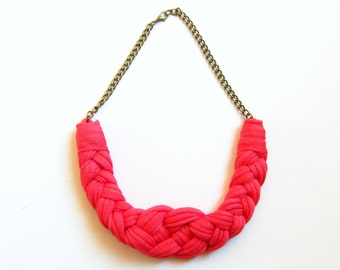 Coral Pink Tshirt Yarn Necklace, Knotted Necklace, Cotton Necklace, Braided Necklace, Cotton Choker, Tshirt yarn Choker, Statement Necklace.
