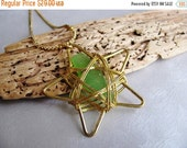 Early Christmas Sale - Reserved for BARRKORRD -Sea Glass Star Cage Pendant - Kelly Green Sea Glass Pendant - Gold Star