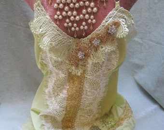 MidWinter Sale 20% Off 35 Percent OFF  FLAPPER  1920s Downton Abbey Weddings Proms - Vintage Slip Make Over - Ivory, Pale Kiwi and Gold