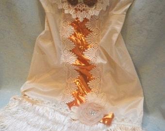 30% OFF - June Sale FLAPPER Roaring 20's Gatsby Downton Abbey 1920's Fringe - Vintage Slip Make Over - Ivory and Copper