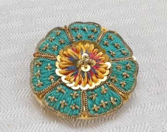 40s 50s Vintage Hand Made Medallion Brooch on Buckram
