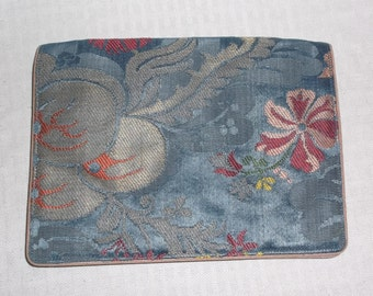 1960s Vintage Envelope Clutch Purse Blue and Gold Brocade by Appay Paris