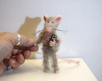 ooak little boy poseable mouse ( #5 ) polymer clay art doll by DinkyDarlings elf pixie fairy faery