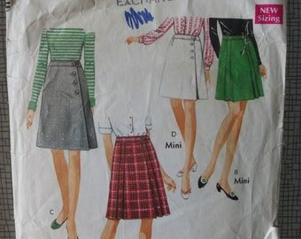 """1969 Wrap Over Skirt - 24"""" Waist - Style 2380 - Vintage Retro 1960s Sewing Pattern"""