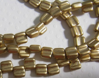 Groovy - Czech 2 Hole, 6mm Tile Beads, one string of 40 beads - Silky Gold ( Bronze Pale Gold)