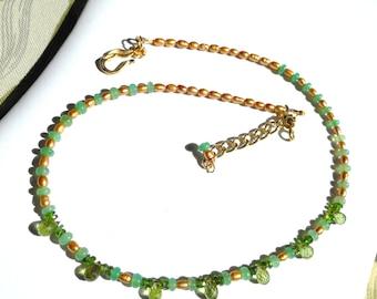 Elegant Whispers ... natural, peridot, chrysoprase, chrome diopside. green. gold, FWP ... #632