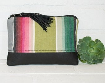 black leather zip bag, navajo fabric, coin purse,  pouch, wallet, upcycled, purse, phone bag, tassel, makeup bag, handmade, stacylynnc
