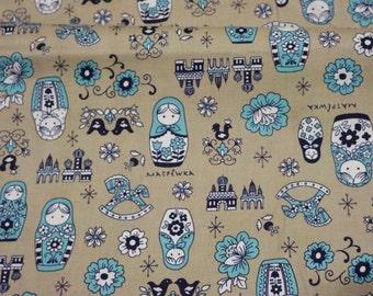 SALE  1 meter Matryoshka print Japanese fabric vintage style