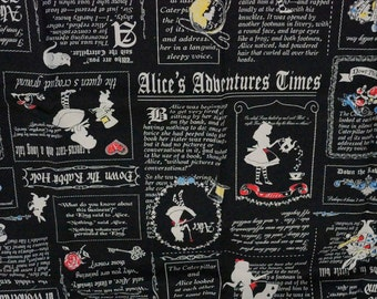 PRECUT Fabric Japanese cotton linen Fairy tales print Alice In Wonderland Half meter (n421)