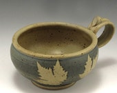 Set of 2 Stoneware Soup Mugs-Blue Maple Leaf Pattern