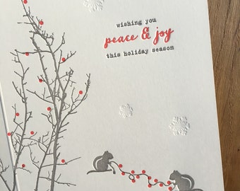 Chipmunks dressing the tree with festive lights letterpress holiday cards
