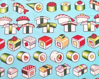 One (1) Yard -Please Enjoy Sushi Fabric by Alexander Henry Fabrics 8411A Light Blue