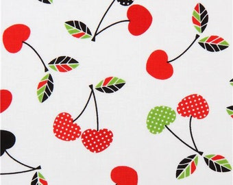 Two (2) Yards- Let's Eat Cherries on White Fabric by Robert Kaufman Fabrics ACK-15689-195 Bright