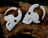 Fake Gauge skulls and Bone Earrings - Hand Carved Organic Bone Unity Expanders tribal style fake piercings