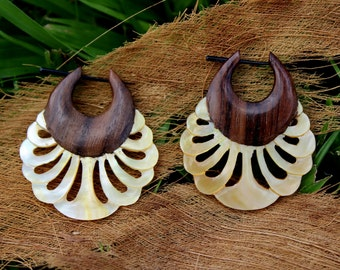 Fake Gauge Earrings ,Tribal Style, Mother of pearl, Shell, feather,Gold Shell,hand carved,organic.stick earrings
