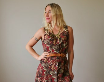 1980s Forest Panel Dress >>> Size Extra Small to Small