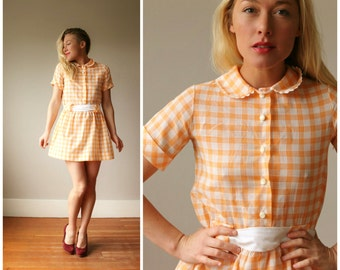 1960s Sherbert Plaid Dress~Size Extra Small or Girls Size 10/12