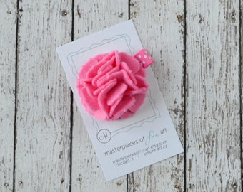 Hot Pink Felt Carnation Flower Hair Clip on a Polka Dot Clippie - bubblegum pink - felt flower hairbow - flower hair bow with non slip grip