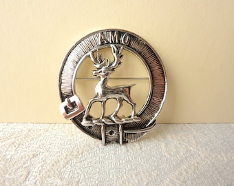 """Vintage Clan Scott Brooch Featuring the Clan Motto """"AMO"""" and Emblem: a Stag in a Leather Strap"""